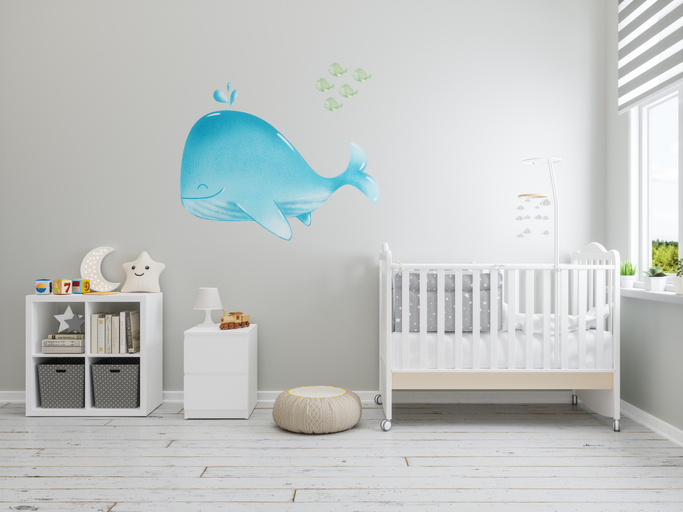 child's room with whale painted on wall